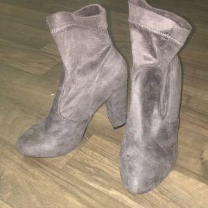 Dark Grey Ankle Sock Heeled Booties